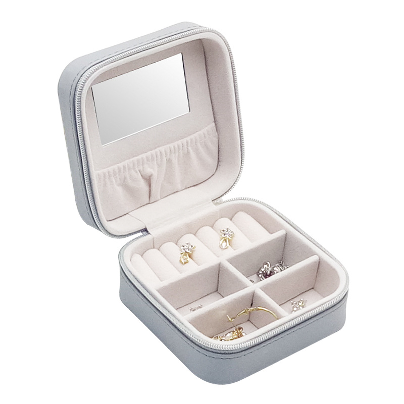 Portable Jewelry Box Jewelry Holder Leather Jewelry Case Travel Storage Necklace Earrings Lipstick Makeup Box Mirror Gift