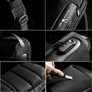 Men's Waterproof USB Oxford Crossbody Bag Anti-theft Shoulder Sling Bag Multifunction Short Travel Messenger Chest Pack For Male 3
