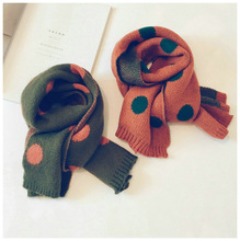 Korean Knit Wool Dot Soft Warm Autumn Winter Thick Kids Children Boys Girls Shawls Wraps Scarves Accessories-LHC children autumn and winter warm clothes boys and girls thick cashmere sweaters