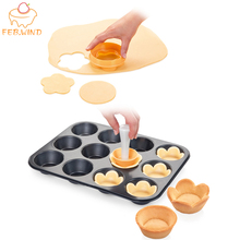 Plastic Tart Tamper Pastry Tamper Flower Round Dough Cookie Cutter Tarte Mini Tart Shell Crust Mold For Cupcake Muffin Pan 602 cheap FEB WIND Moulds CE EU LFGB Cake Tools Eco-Friendly Stocked BK602 Drop shipping worldwide service available!