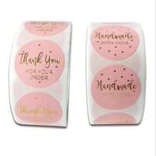 Pink Label Stickers Foil Thank You Stickers 1'' 50-500pcs Gold Foil Business Order Home Hand madeSticker Wedding Envelope Seals