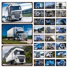 Ретро плакат белый синий грузовик металлический жестяной знак
