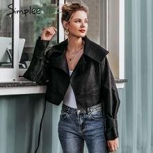 Simplee Faux dell'unità di elaborazione di cuoio delle donne giacca cappotto Con Scollo A V del legame di arco nero del motociclo delle signore outwear cappotto Dalla Fasciatura high street giacca femminile