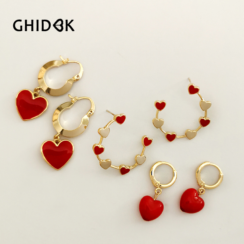 GHIDBK Dainty Red Heart Pendant Huggie Hoop Earrings Minimalist Statement Gold Charm Earring Circle Fashion Street Style Earring