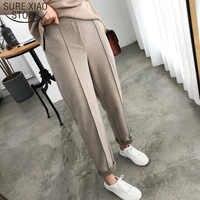 2019 automne hiver OL Style épaissir femmes crayon pantalon laine femme travail costume pantalon ample femme pantalon Capris grande taille 6648 50