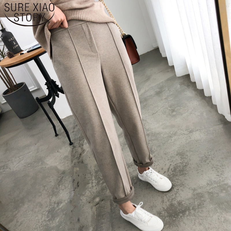 2019 Autumn Winter OL Style Thicken Women Pencil Pants Wool Female Work Suit Pant Loose Female Trousers Capris Plus Size 6648 50