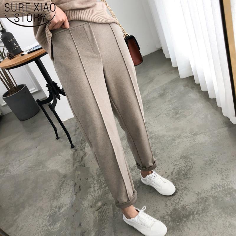 2019 Autumn Winter OL Style Thicken Women Pencil Pants Wool Female Work Suit Pant Loose Female Trousers Capris Plus Size 6648 50
