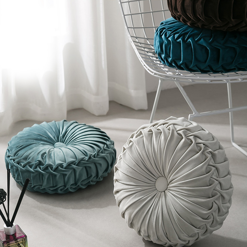 European Style Round Seat Cushion Velvet Fabric Throw Pillow Cushion Handmade Pleated Wheel Pumpkin Seat Cushion