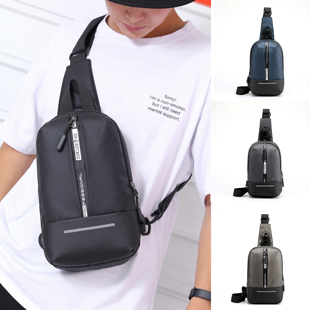 New Men's Chest Bag Fashion Reflective Strip Sports Travel Bag Dropshipping Low Price Discount Woman Man Style