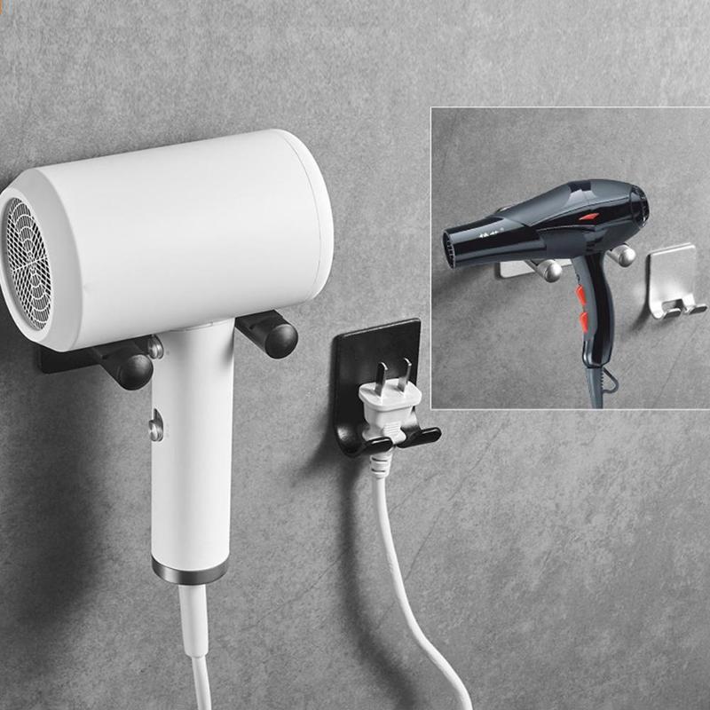 Aluminum Alloy  Hair Hanger Wall Mount Blow Dryer Holder Bracket Free Punch Hanger Bathroom Storage Rack