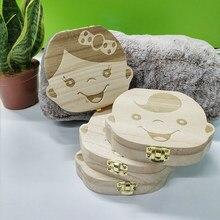 Pudełko na zęby mleczne hiszpański/holenderski/francuski/niemiecki drewniane dzieci zęby mleczne organizator przechowywanie chłopcy dziewczęta dziecięce upominki prezenty Keepsakes