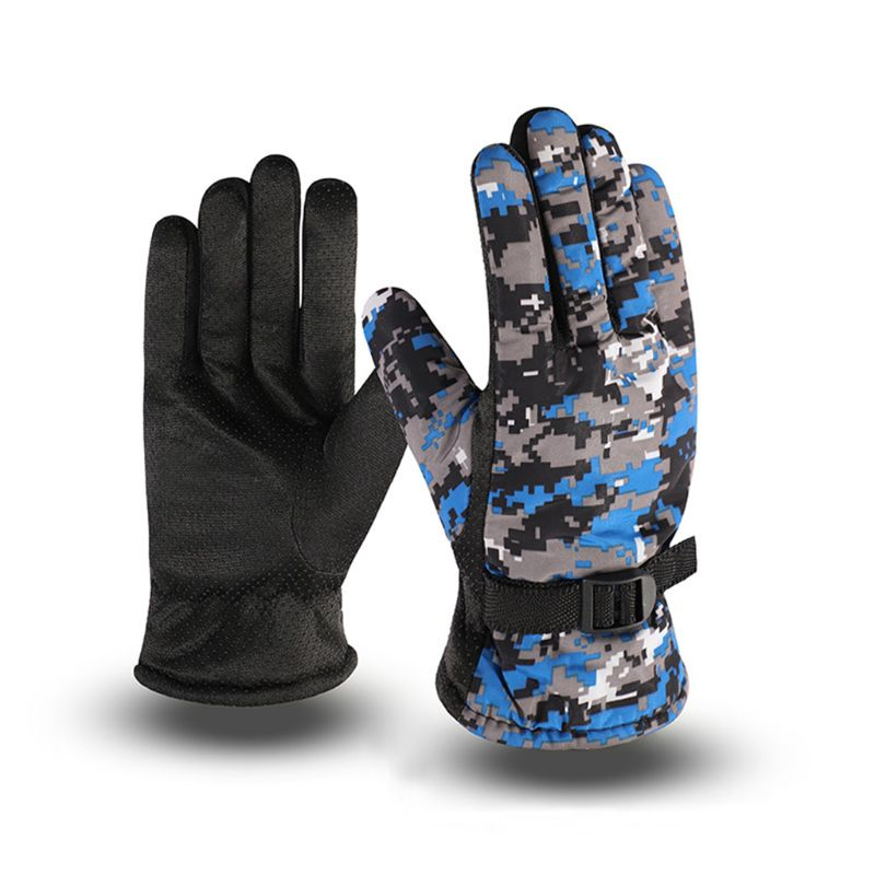 Mens Winter Waterproof Thermal Full Finger Gloves Thick Plush Lining Camouflage Print Anti-Slip Palm Adjustable Snow Ski Mittens