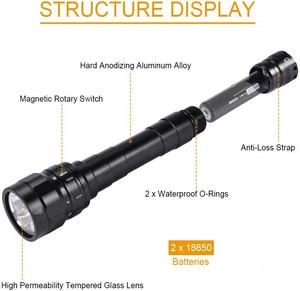 Image 5 - DF30 Scuba Diving Light 18650 lED Flashlight Powerful 3100lm Triple Cree XPL LED Lamp Underwater Searchlight Torch