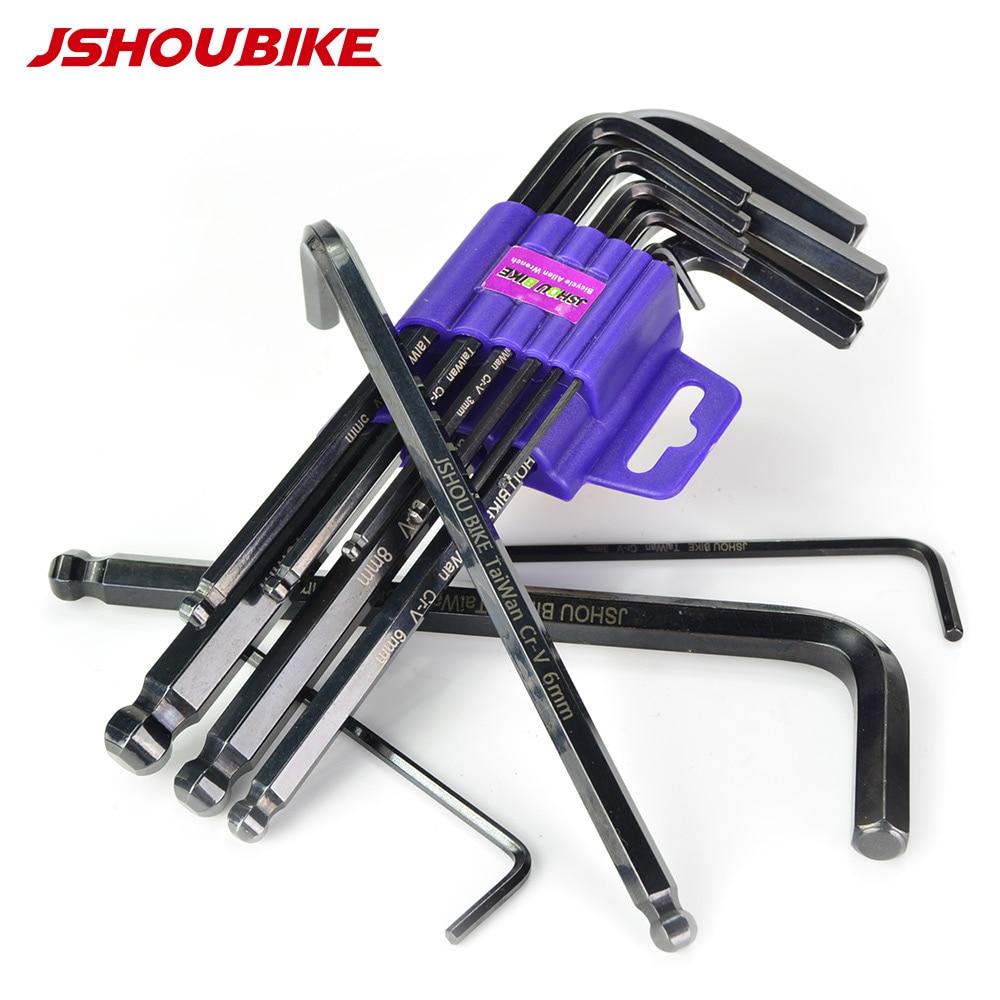 JSHOU BIKE Allen Key hex Wrench Tool Kit 9pcs L Type Wrench Set Portable Repair Cycling Accessories Tool Kit Set Mountain Bike