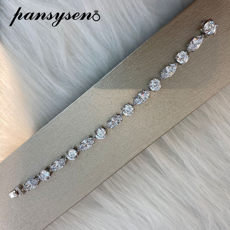 PANSYSEN Luxury Solid 925 Sterling Silver Created Moissanite Diamond Bracelets for Women Wedding Silver Bracelet Fine Jewelry