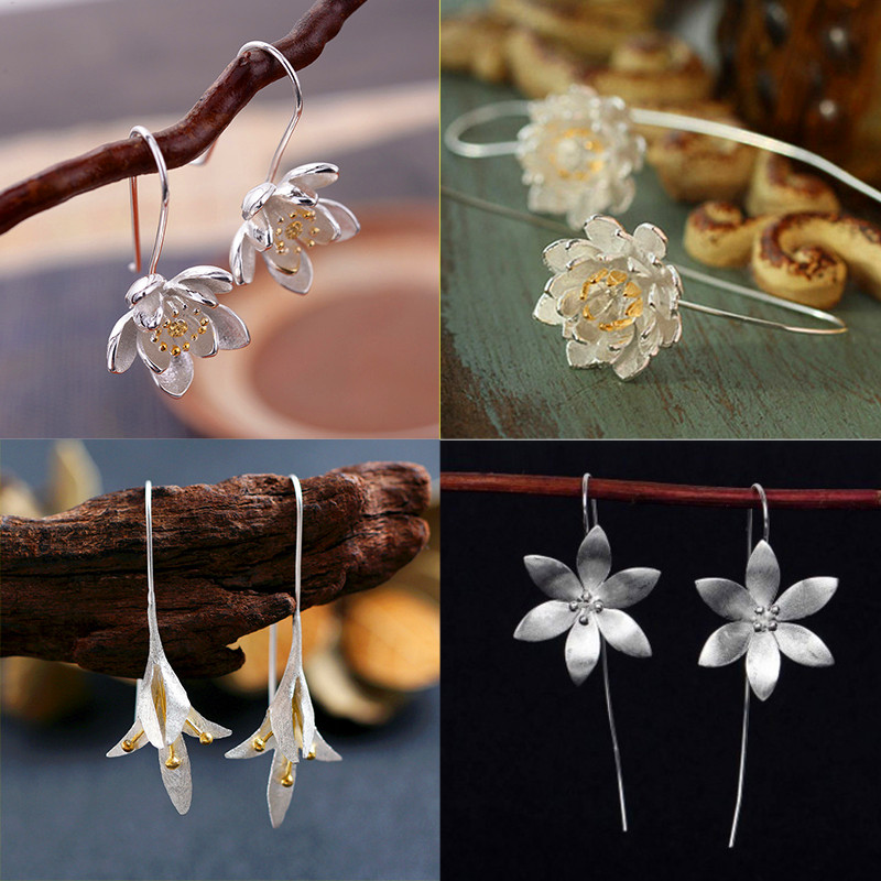 White Gold Filled Earrings Cute Flower Orchid Daisy Drop Earrings For Women Charm Wedding Dangle Earring Minimalist Jewelry