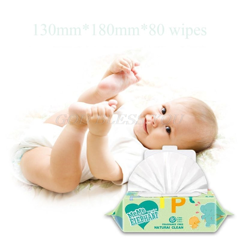 80Pcs/Bag Flushable Wet Wipes For Baby Alcohol Free Unscented Flip-Top Wipes