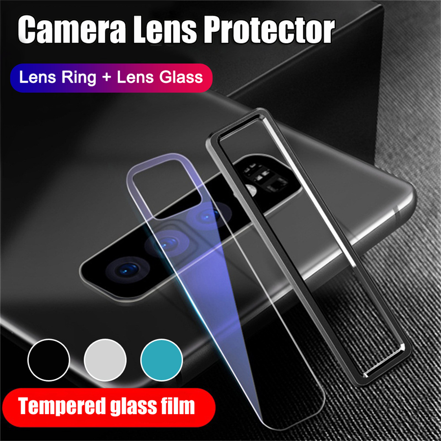 For <font><b>Samsung</b></font> Galaxy Note 10 Plus S10 Metal Ring Case + Tempered <font><b>Glass</b></font> Full Cover Metal Ring <font><b>Camera</b></font> Lens Case Film Screen Protecto image