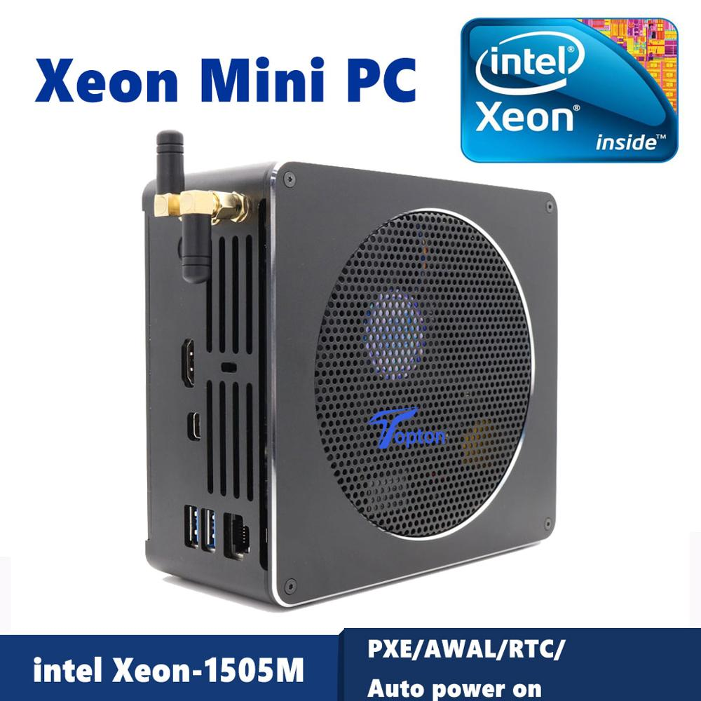 Intel Xeon E-2186M/Xeon E3-1505M 2*DDR3L/DDR4 Mini PC Server Windows 10 Pro UHD Graphics 630 HDMI Mini-DP WiFi Desktop Computer