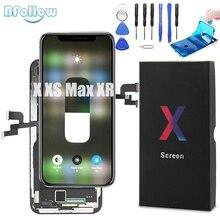 BFOLLOW oryginalny OLED z prawdziwym zamiennikiem ekranu dla iPhone X XS Max XR wyświetlacz LCD Digitizer uszczelka zespołu