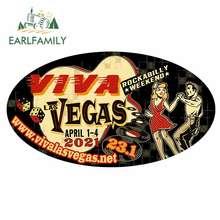 EARLFAMILY 13cm x 7,3 cm para Viva Las Vegas, fin de semana pegatina de coche creativa DIY impresión personalizada Anime impermeable etiqueta