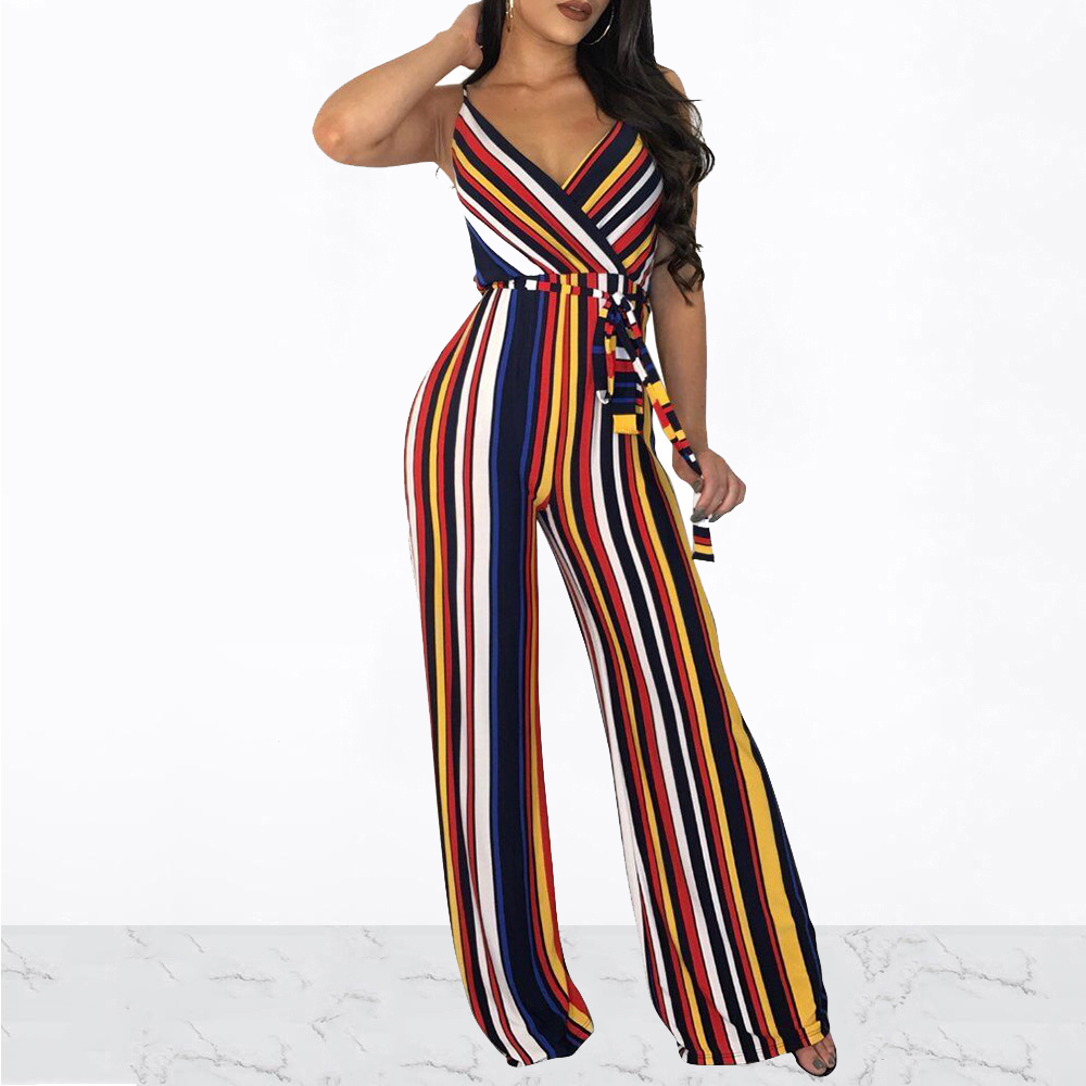 Women Sexy Spaghetti Strap V-neck Vertical Striped Jumpsuit High Waist Wide Leg Pants Rompers Streetwear Overalls With Sashes