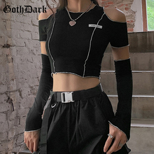Goth Dark E-girl Style Patchwork Black T-shirts Gothic One Shoulder Sleeve Y2k Crop Tops Ruffles Hem Hip Hop Techwear Women Tees
