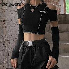 Goth Dark – t-shirt noir Style e-girl à manches asymétriques pour femme, haut court Style gothique, asymétrique épaule dénudée, Y2k, ourlet à volants, Hip Hop Techwear