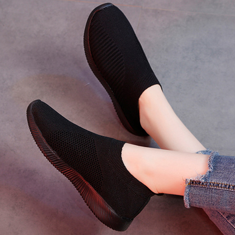 2020 Women Vulcanized Female Slip On Shoes Ladies Fashion Loafers Women's Breathable Comfortable Woman New Style Plus Size