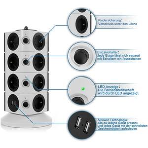 Image 2 - Kule güç şeridi dikey dalgalanma koruması 11/15 prizleri 2 USB şarj portu 6.5ft/2M uzatma kablosu ev aletleri için
