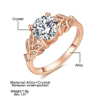 1PC Hot Crystal Leaf Engagement Ring 3