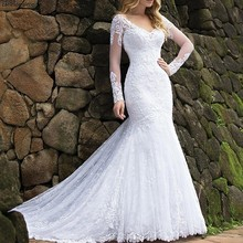 Long sleeves Lace Mermaid Wedding Dresses with Appliques Chapel Train White Bride Dress