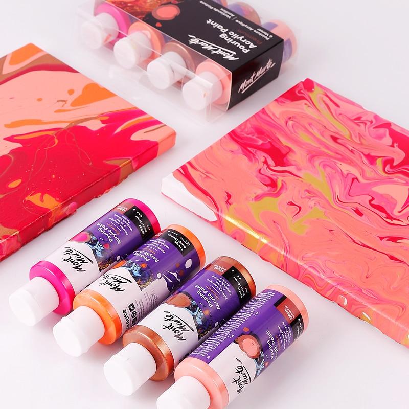 120ML acrylique peinture ensemble tissu peinture marbrure peinture Silicone huile acrylique verser moyen dessin outil pour artiste bricolage Art fournitures