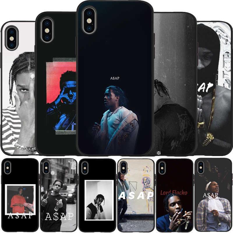 ASAP Rocky Rapper Viền Đen Dẻo Silicone Ốp Lưng Điện Thoại Cho iPhone 8 11 Pro X XS Max XR 5 5s 6 6S 6S Plus 7 Lưng CapA