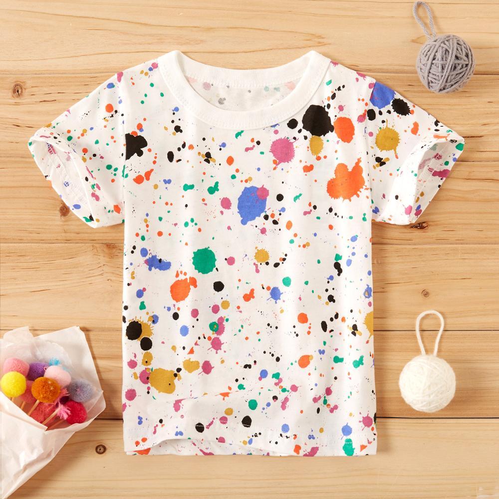 PatPat/2020 г. Новая летняя детская одежда для маленьких девочек и мальчиков Яркая футболка с рисунком брызг чернил для малышей, хлопковые топы с короткими рукавами|Тройники| | АлиЭкспресс