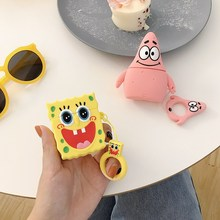 3D Cute Spongebob squarepan Case for Airpods 2 Silicone Duck Headphone Protector Cover Apple 1 For Earpods