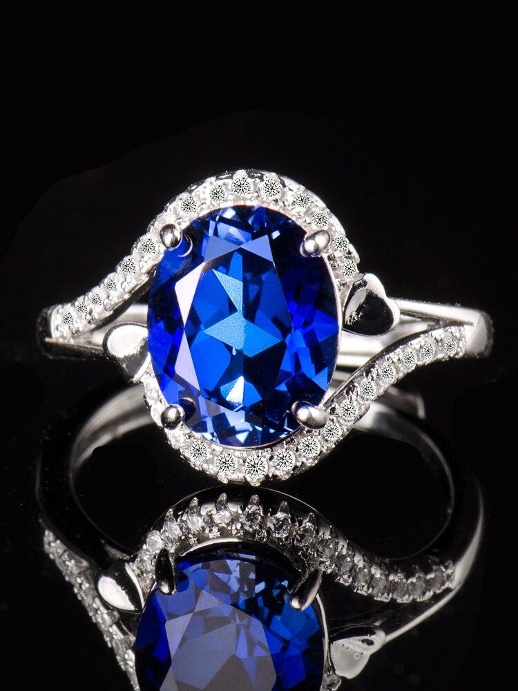 Zafiro, Gema azul, anillos para mujer Plata de Ley 925, uxury accesorios femeninos, regalos para mujer, joyería 2020, boda