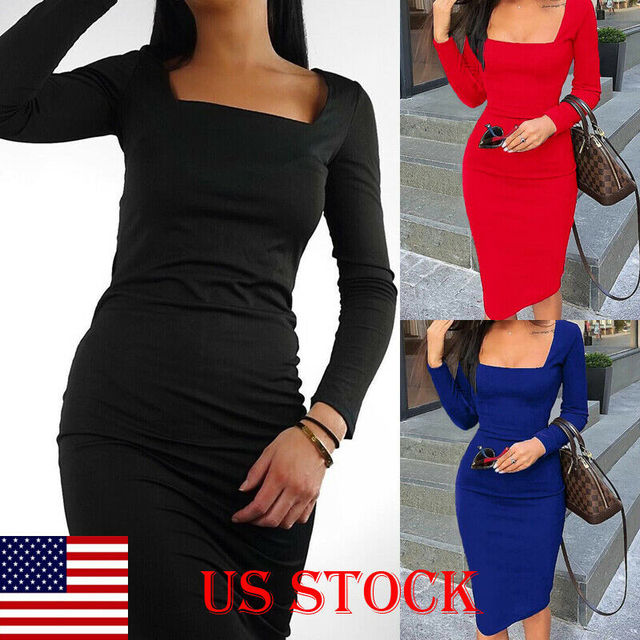 Elegant Dress Women Long Sleeve Bodycon Dress Ladies Autumn Casual Dress Party Dress Xmas Warm Cotton Winter Dress hot 4
