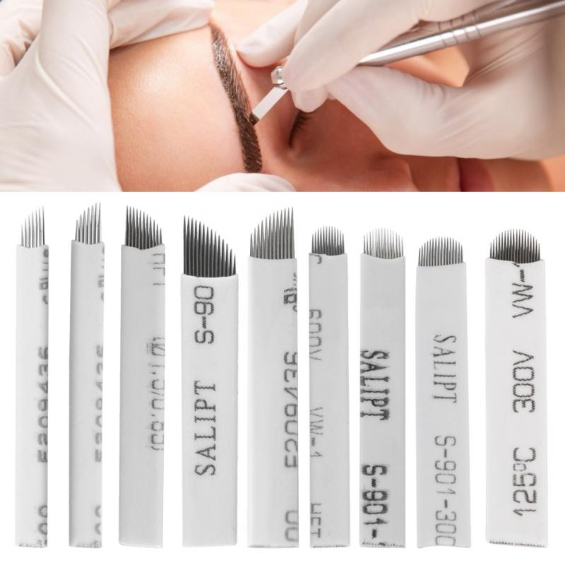 20pcs Eyebrow Tattoo Manual Microblading Permanent Makeup Sterile Needle Pin U Shape Blade For 3D Embroidery Microblading Tattoo
