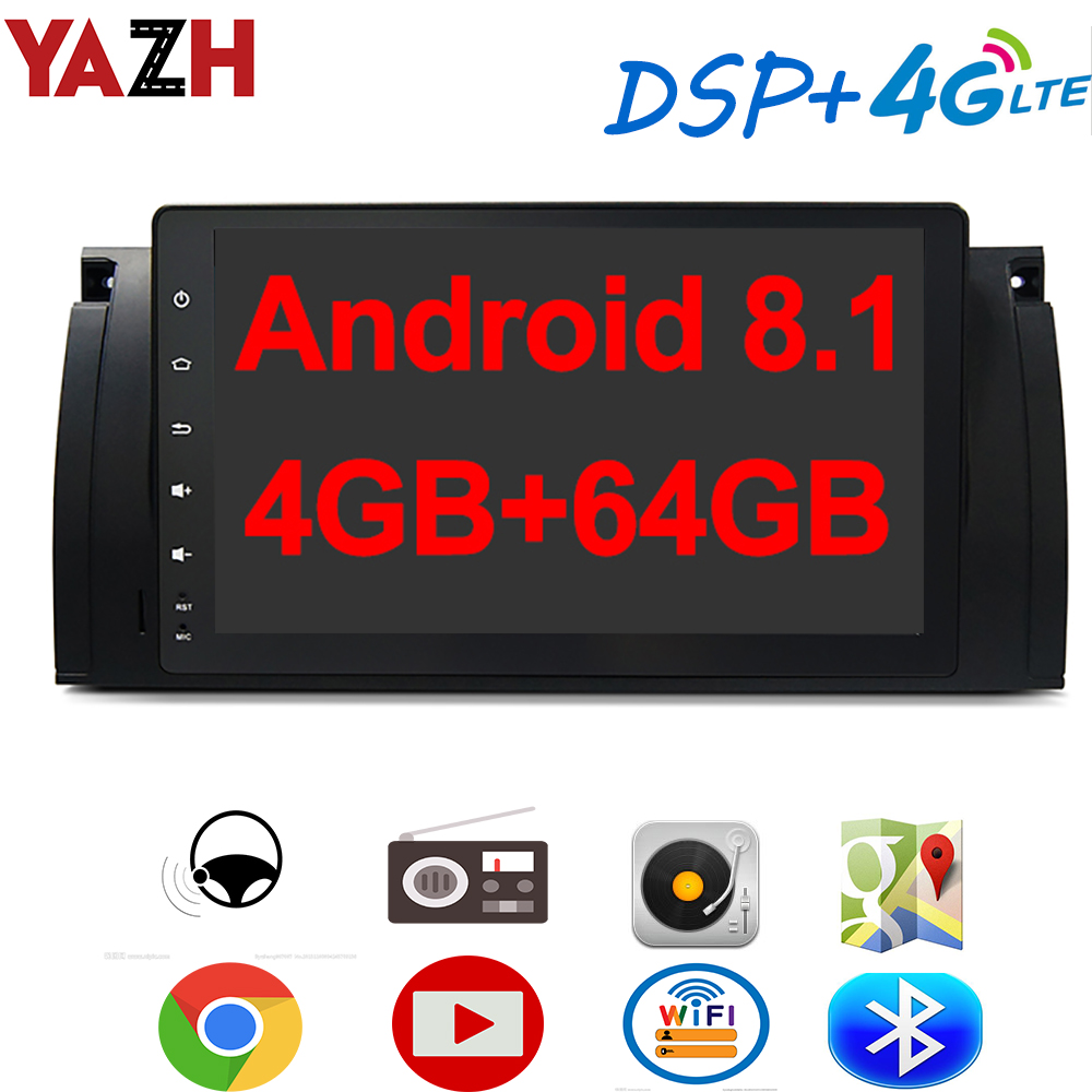 YAZH Android 8.1 Car GPS Multimedia For BMW 5 Series E39 X5 E38 E53 With 9.0 IPS Radio Display Bluetooth 5.0 4G SIM Card DSP image