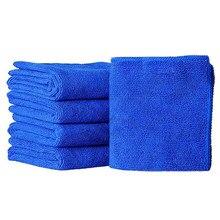 Chiffons de lavage de voiture doux et absorbants, 5 pièces, serviettes de nettoyage en microfibre bleue Durable, 25x25cm