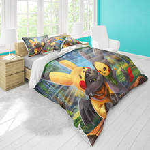 Double bed quilt cover 229cmx229cm bedding tamer dragon master pattern pillowcase three-piece set can be set pattern comfortable