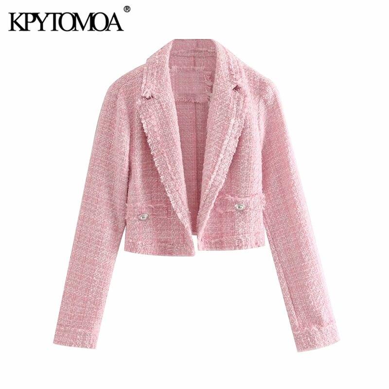 Vintage Stylish Frayed Tassel Short Style Blazer Coat Women 2019 Fashion Long Sleeve Open Stitch Female Outerwear Chic Tops