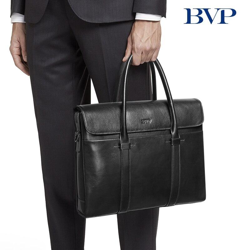 BVP Brand High Quality Business Men Briefcase Bag Genuine Leather 13 Inch Laptop Bag Casual  Man Bag Shoulder Bags Capacity 45
