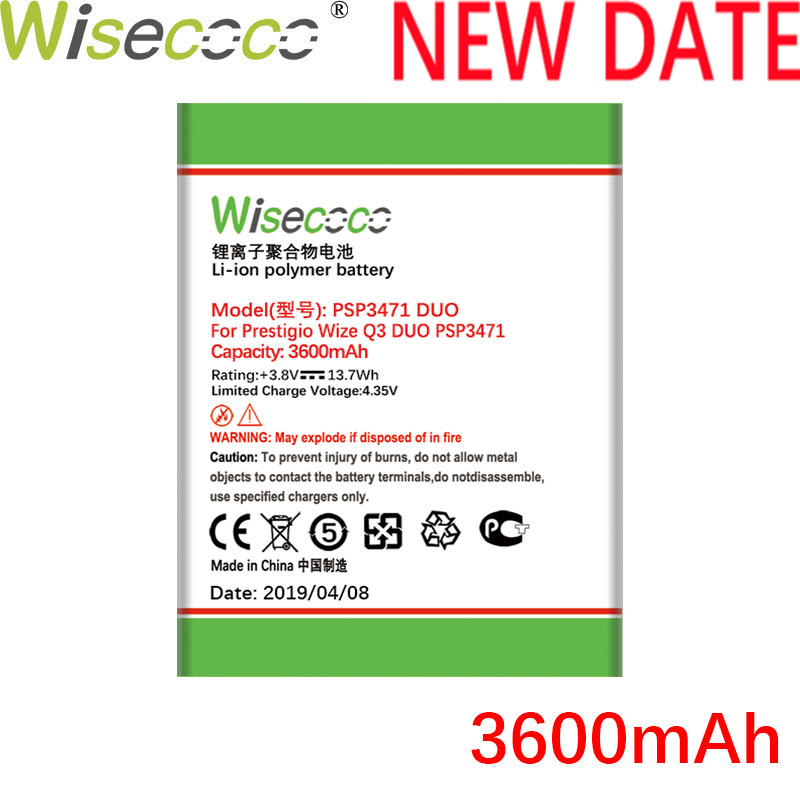Wisecoco PSP3471 DUO 3600mAh batterie nouvellement produite pour Prestigio Wize Q3 PSP 3471 DUO batterie de téléphone remplacer + numéro de suivi
