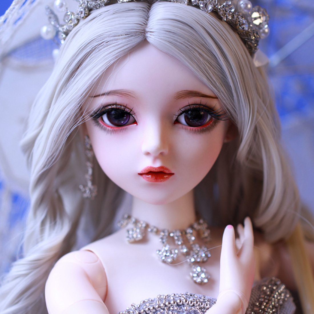 60cm 1/3 BJD Dolls Mechanical Joints Wedding Dress Doll Set-Cinderella (Included Eyes + Handmade Makeup + Full Clothes As Shown)