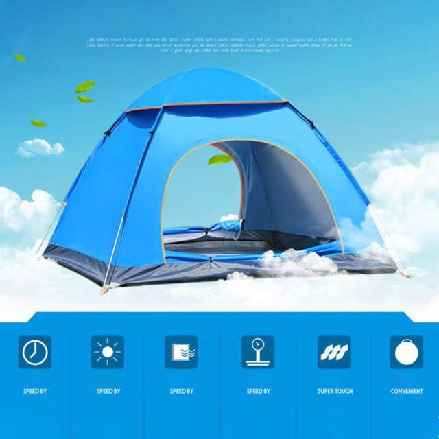 Outdoor Automatic Tents Camping Waterproof Tents 3-4 People Beach Camping Showers Speed Open Double Tent 4