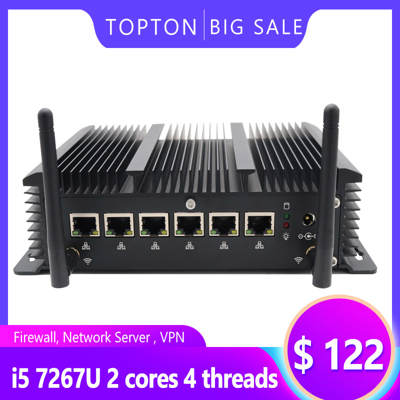 Aluminum Alloy Fanless 6 Lans Industrial Mini PC Intel Core I3 7167U Firewall PC Pfsense Router 4*USB3.0 2*RS232 HDMI 4G/3G WiFi