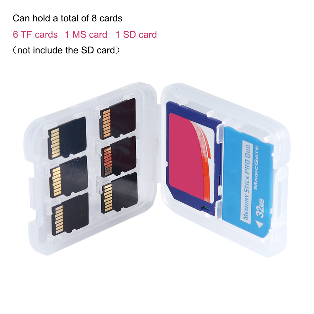 8 In 1 Plastic Micro Double-Layers Plastic Micro For SD SDHC TF MS Memory Card Storage Hard Case Mini Box Protector