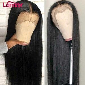 Lemoda droite dentelle avant perruque partie profonde perruques de cheveux humains preplumé longue délié naturel brésilien 13x4 Remy dentelle frontale perruque